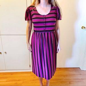 Vintage Cotton 1970s 1980s Striped Dress